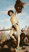 Vs Framed Prints - David Victorious Over Goliath Framed Print by Gabriel Joseph Marie Augustin Ferrier