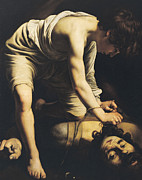 Caravaggio Painting Metal Prints - David Victorious over Goliath Metal Print by Michelangelo Merisi da Caravaggio