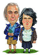 Caricature Paintings - David Walliams and Matt Lucas as George and Sandra by Art