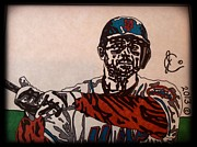 Baseball Art Drawings Framed Prints - David Wright Framed Print by Jeremiah Colley