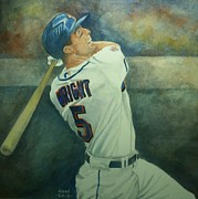 Baseball Painting Metal Prints - David Wright Metal Print by Nigel Wynter