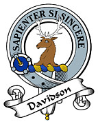 Genealogy Prints - Davidson Clan Badge Print by Heraldry