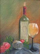 Wine Glasses Painting Originals - DaVinci by Susan Richardson
