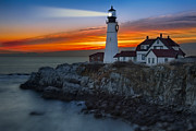 Maine Shore Framed Prints - Dawn At Portalnd Head Light Framed Print by Susan Candelario