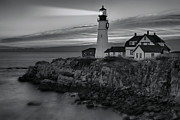 Portland Head Lighthouse Framed Prints - Dawn At Portland Head Light BW Framed Print by Susan Candelario