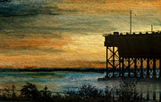 Wooden Ship Mixed Media Prints - Dawn at the Iron Ore Dock Print by R Kyllo
