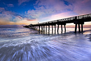Florida Bridges Prints - Dawn at the Juno Beach Pier Print by Debra and Dave Vanderlaan