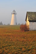 New England Lighthouse Prints - Dawn Fog Print by Catherine Reusch  Daley