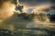 Dawn On Castle Geyser Print by Sandra Bronstein