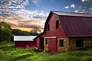 Tennessee Barn Prints - Dawn on the Dairy Farm Print by Debra and Dave Vanderlaan