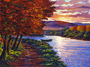 Hyper Painting Posters - Dawn On The River Poster by David Lloyd Glover