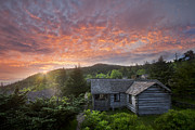 Old Cabins Framed Prints - Dawn Over LeConte Framed Print by Debra and Dave Vanderlaan