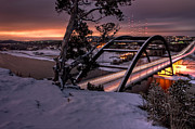 Pennybacker Bridge Photos - Dawn Over Snowy Austin by Eric Snethkamp