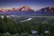 River. Clouds Posters - Dawn over the Tetons Poster by Andrew Soundarajan