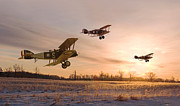 Biplane Framed Prints - Dawn Patrol Framed Print by Pat Speirs