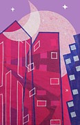 Fushia Prints - Dawn to Dusk in the City Print by Julia and David Bowman
