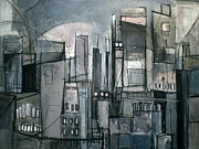 City Buildings Mixed Media Prints - Dawning Print by Sharlena Wood