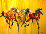 Colorful Horse Paintings - Dawns Early Light by Theresa Paden