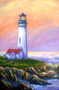 Glenna Mcrae Framed Prints - Dawns Early Light Yaquina Head Lighthouse Framed Print by Glenna McRae
