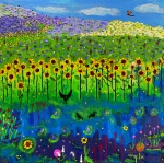 Lightning Bug Posters - Day and Night in a Sunflower Field I  Poster by Angela Annas