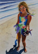 Maine Artist Paintings - Day At The Beach by Joy Bradley  DiNardo Designs