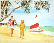 Beach Art Posters - Day at the Beach Poster by Judy Kay