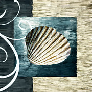 Shell Art Prints - Day At The Beach Print by Lourry Legarde