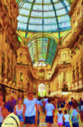 Crowds  Digital Art Prints - Day at the Galleria Print by Jeff Kolker