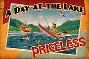 Jet Painting Prints - Day at the Lake Print by JQ Licensing