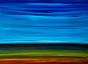 Day Break - Blue Sky Green Grass Painting Print by Sharon Cummings