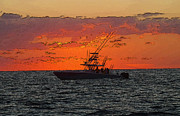 Sportfishing Boat Prints - Day Break Print by Carey Chen
