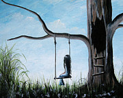 Child Swinging Paintings - Day Dreaming by Shawna Erback by Shawna Erback