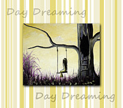 Child Swinging Painting Prints - Day Dreaming in Yellow by Shawna Erback Print by Shawna Erback