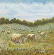 Haybales Painting Metal Prints - Day is Done Metal Print by Vic  Mastis