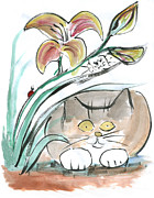 Pictures Of Cats Framed Prints - Day Lily and Friends Framed Print by Ellen Miffitt
