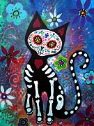 Pristine Cartera Turkus Posters - Day of the Dead Cat Poster by Pristine Cartera Turkus