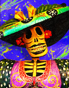 Handmade Digital Art Prints - Day of the Dead Fashion Print by Ron Regalado