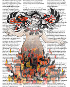 Sassan Filsoof Prints - Day of the Dead Gaia in Flames with Text Illustration print Print by Sassan Filsoof