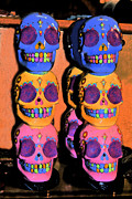 Florescent Lighting Mixed Media Framed Prints - DAY OF THE DEAD Ink Framed Print by PAMELA Smale Williams