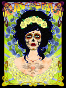 Rosary Mixed Media Framed Prints - Day of the Dead Portrait in Indigo Framed Print by Tristan Berlund