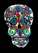 Genevieve Paintings - Day Of The Dead Skull by Genevieve Esson