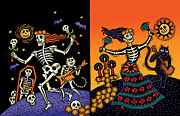 Linocut Prints - Day of the Dead Print by Sue Todd