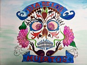 Sugar Skull Drawings Posters - Day of the Dead Sugar Skull Poster by Melissa Darnell Glowacki