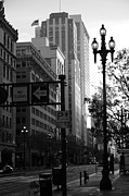 Architecture Art - Daybreak Over San Francisco Market Street - 5D20613 - Black and White by Wingsdomain Art and Photography