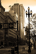 Architecture Art - Daybreak Over San Francisco Market Street - 5D20613 - Sepia by Wingsdomain Art and Photography