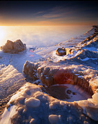 Sunset; Ice Prints - Daybreak Print by Ray Mathis