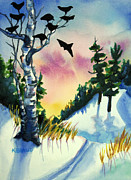 Snow Scene Mixed Media Originals - Daybreak Ski              by Kathy Braud