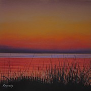 Pink Sunset Pastels Posters - Daybreaks Reflection Poster by Harvey Rogosin