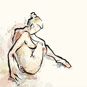 Dancer Art Mixed Media Prints - Daydream Seated Nude Print by Alison Schmidt Carson