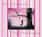 Swing Art Paintings - Daydreaming In Pink by Shawna Erback by Shawna Erback